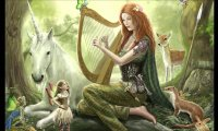 Celtic Harp in a Windy Forest